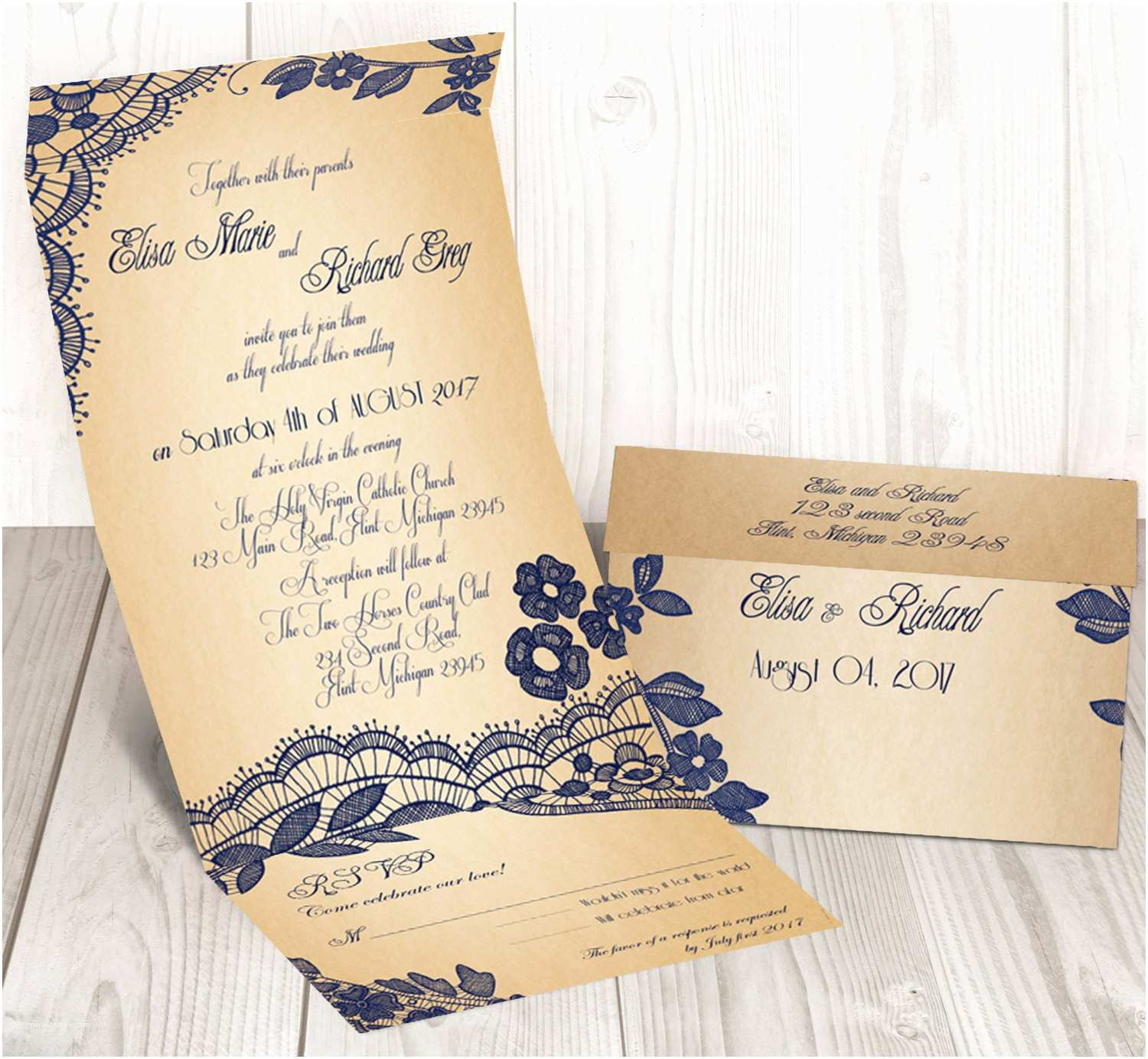 Seal and Send Wedding Invitations Elegant Lace Seal and Send Wedding Invitation by