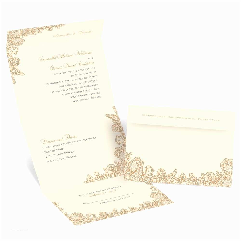 Seal and Send Wedding Invitations Lacy Corners Seal and Send Invitation
