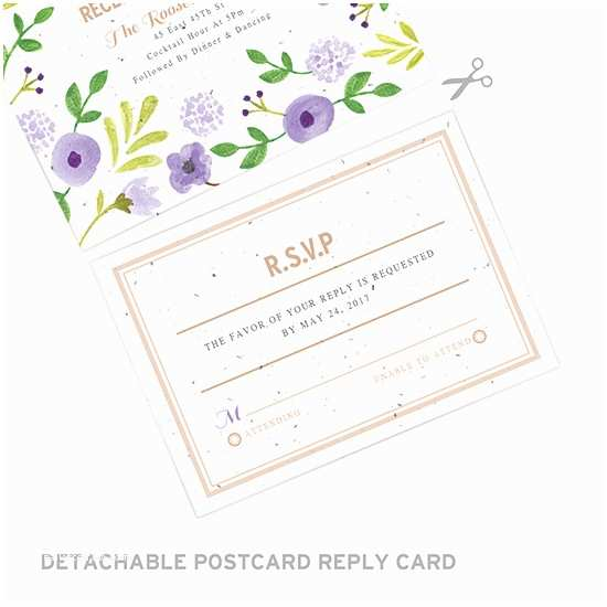 Seal and Send Wedding Invitations Painterly Florals Seal and Send Invitation