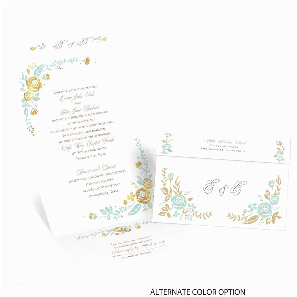 Seal and Send Wedding Invitations Roses and Whimsy Foil Seal and Send Invitation