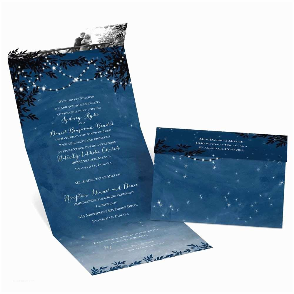 Seal and Send Wedding Invitations Starry Night Seal and Send Invitation
