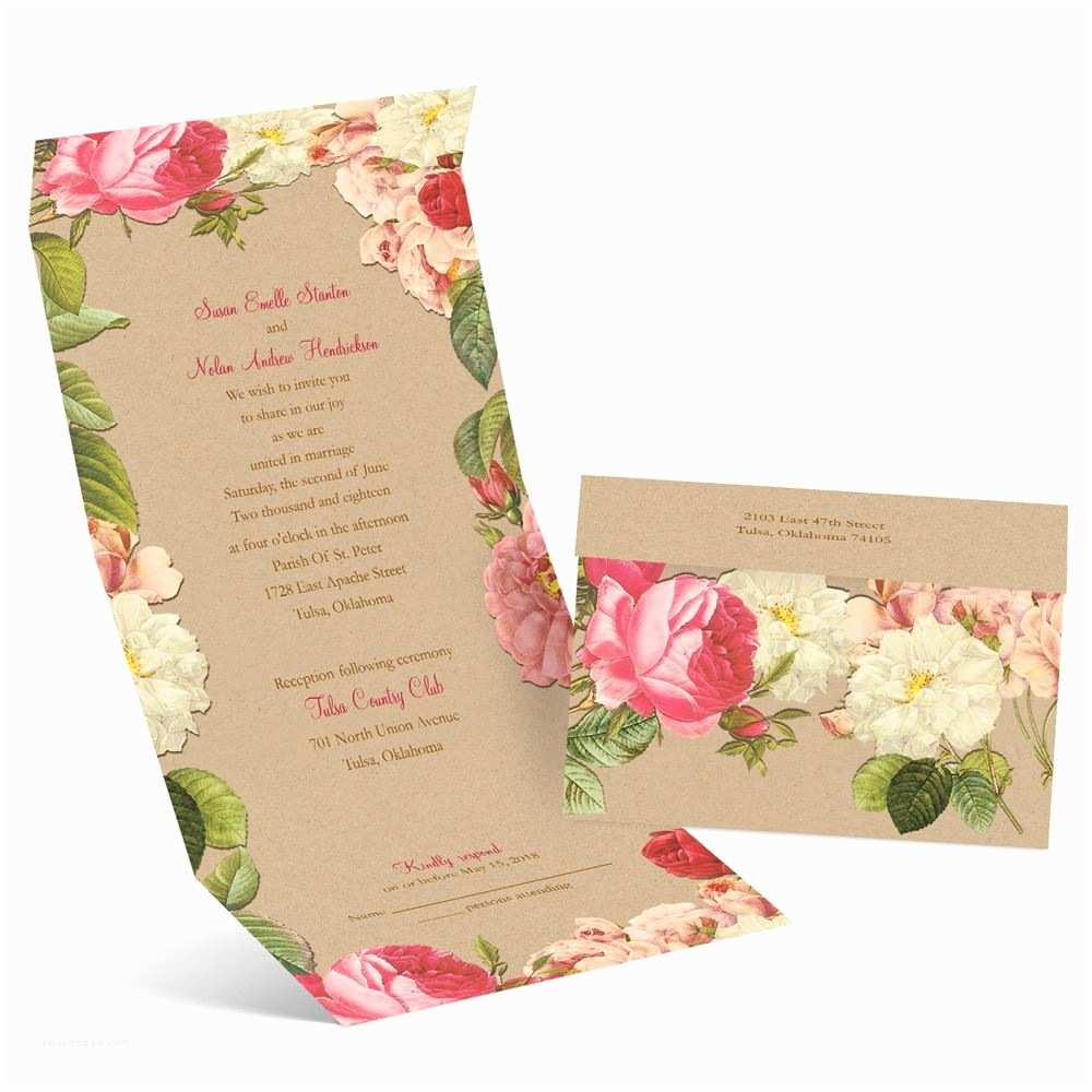 Seal and Send Wedding Invitations Vintage Blooms Seal and Send Invitation