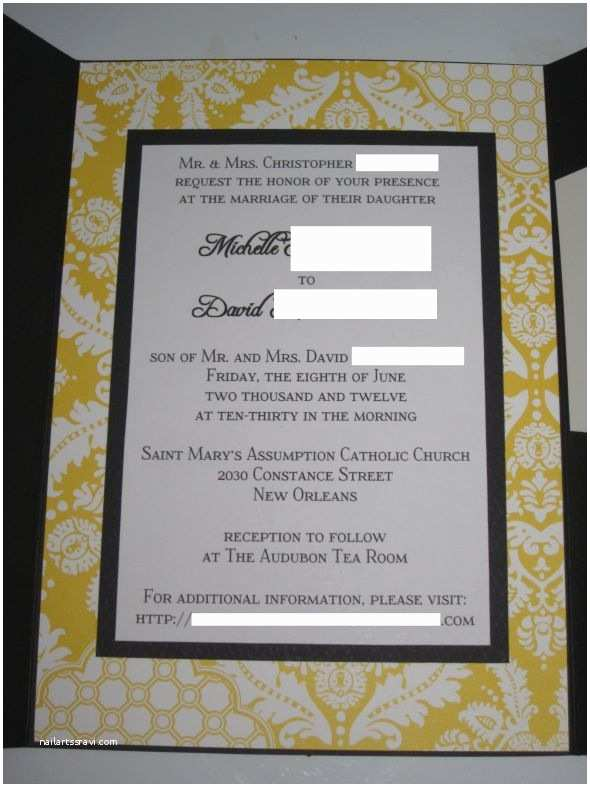 Seal and Send Wedding Invitations Vistaprint Black White and Yellow Damask Invitations