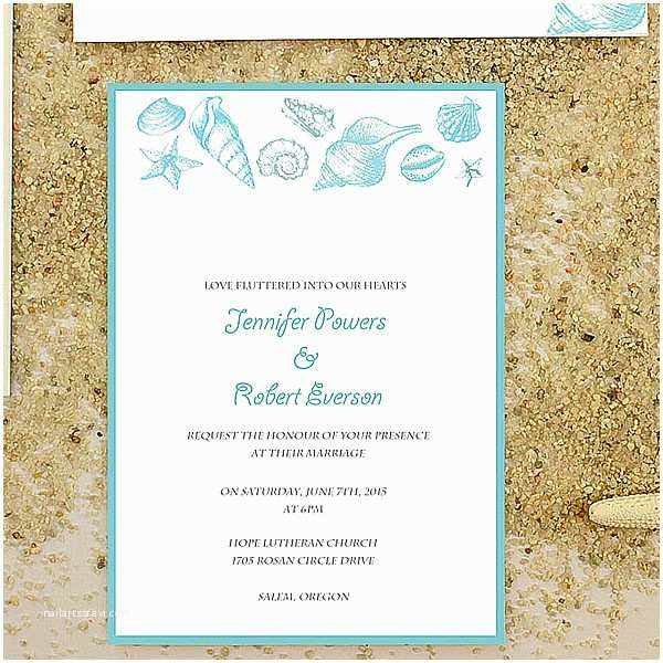 Seashell Wedding Invitations Cheap Starfish and Seashell Beach Wedding Invitation