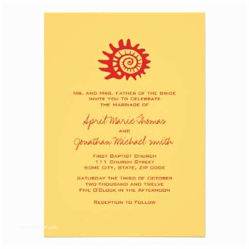 "Seashell Wedding Invitations Red and Yellow Seashell Wedding Invitation 5"" X 7"
