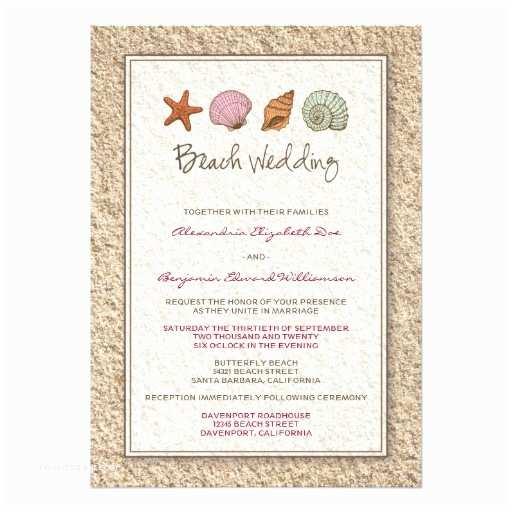 Seashell Wedding Invitations Sandy Beach Seashell Wedding Invitation
