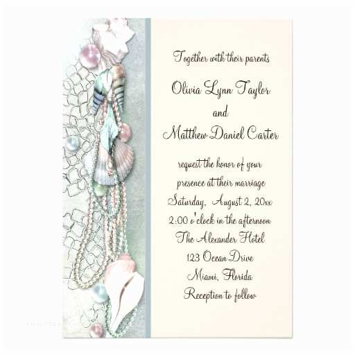 Seashell Wedding Invitations Seashell Pearls Elegant Beach Wedding 5x7 Paper Invitation