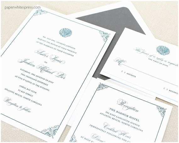 Seashell Wedding Invitations Shell Wedding Invitations Seashell Wedding by Paperwhitespress