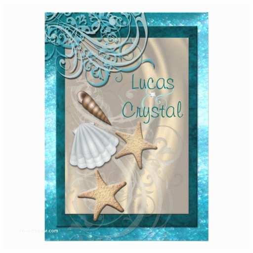 "Seashell Wedding Invitations Shimmering Seashell Teal Beach Wedding Invitation 5"" X 7"