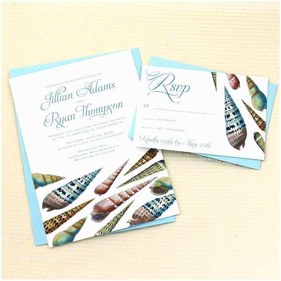 Seashell Wedding Invitations Spiral Seashell Wedding Invitations Sample by Concertinapress