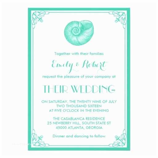 Seashell Wedding Invitations Turquoise Seashell Nautical Wedding Invitation