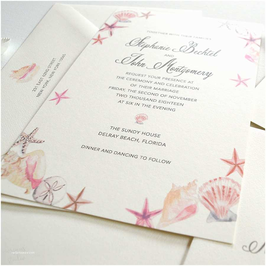 watercolor seashells wedding invitations