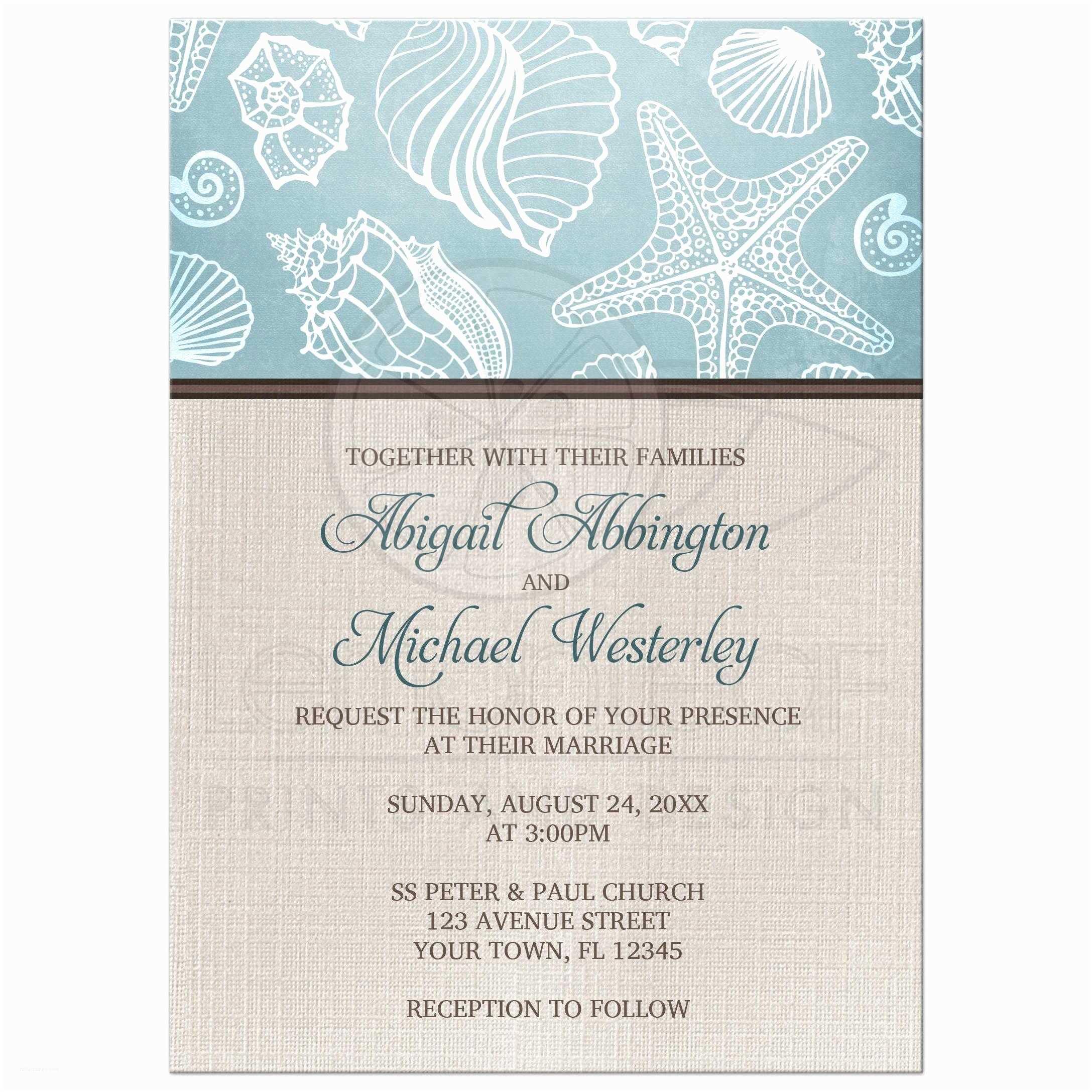 Seashell Wedding Invitations Wedding Invitations Rustic Beach Seashells Linen