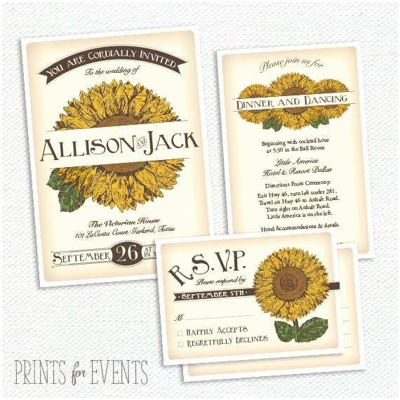 Seed Wedding Invitations Vintage Sunflower Wedding Invitation Suite Seed