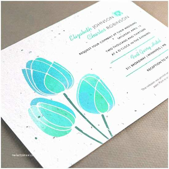 Seed Wedding Invitations Watercolor Tulips Plantable Wedding Invitation