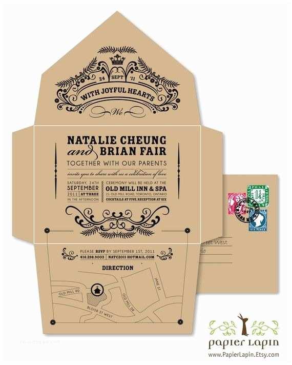 Self Made Wedding Invitations Green Self Mailer Wedding Invitation Super Cute