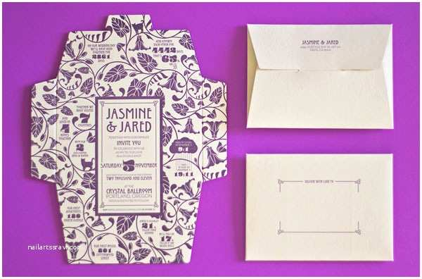 Self Made Wedding Invitations Self Mailing Art Nouveau Wedding Invitations Invitation