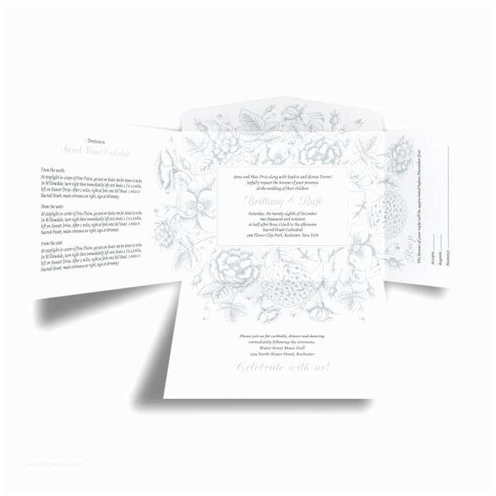 Self Made Wedding Invitations toile Reverie Self Mailer Wedding Invitation