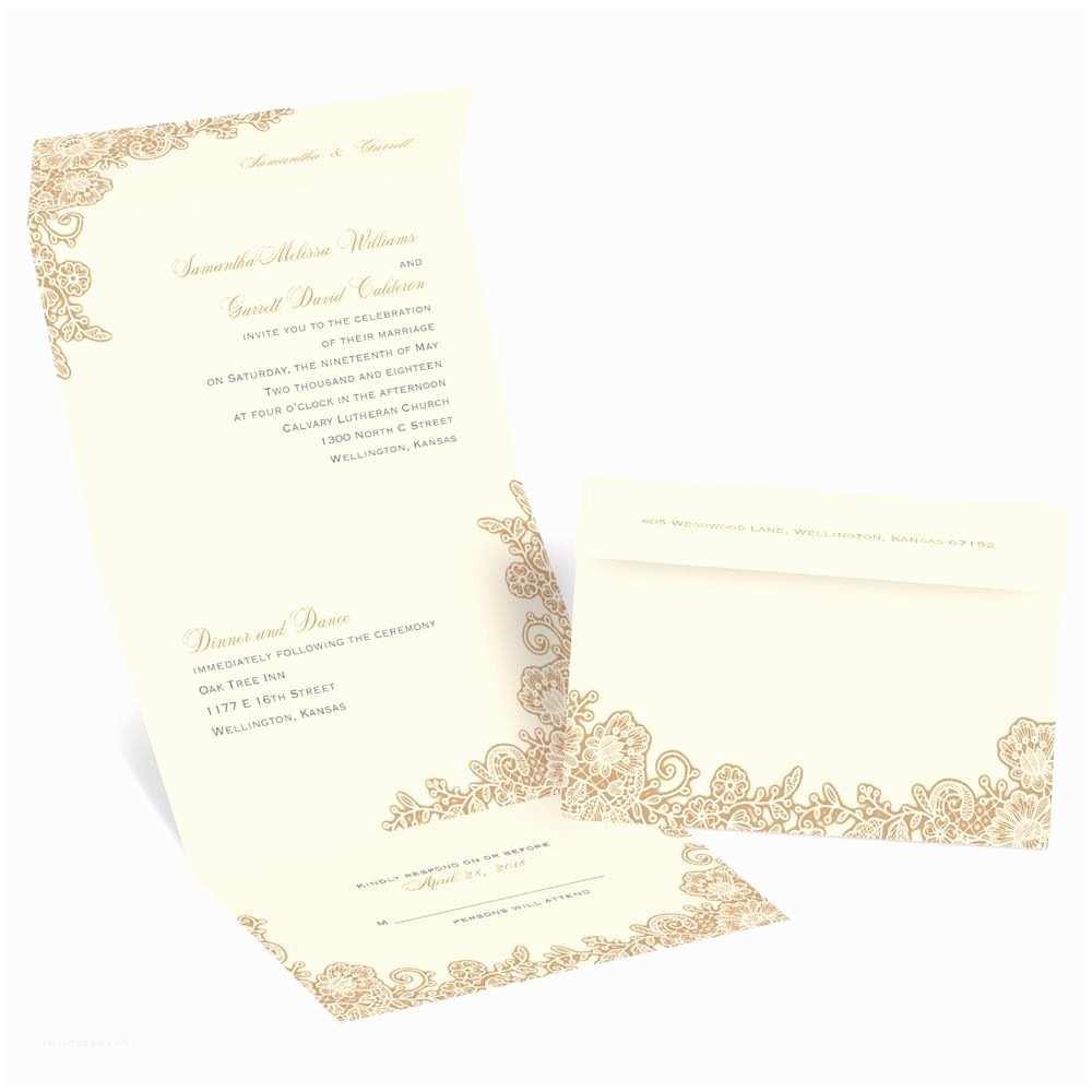 Sending Wedding Invitations Lacy Corners Seal and Send Invitation