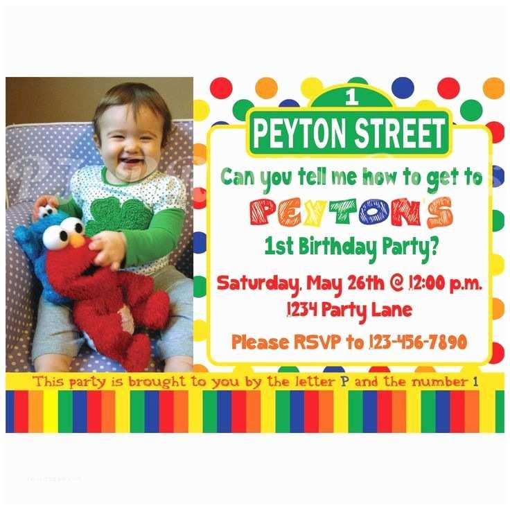 Sesame Street Birthday Invitations Sesame Street Birthday Invitation Primary Colors Custom