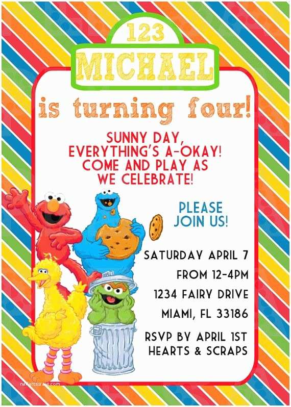 Sesame Street Party Invitations 17 Best Images About Sesame Street Birthday Party