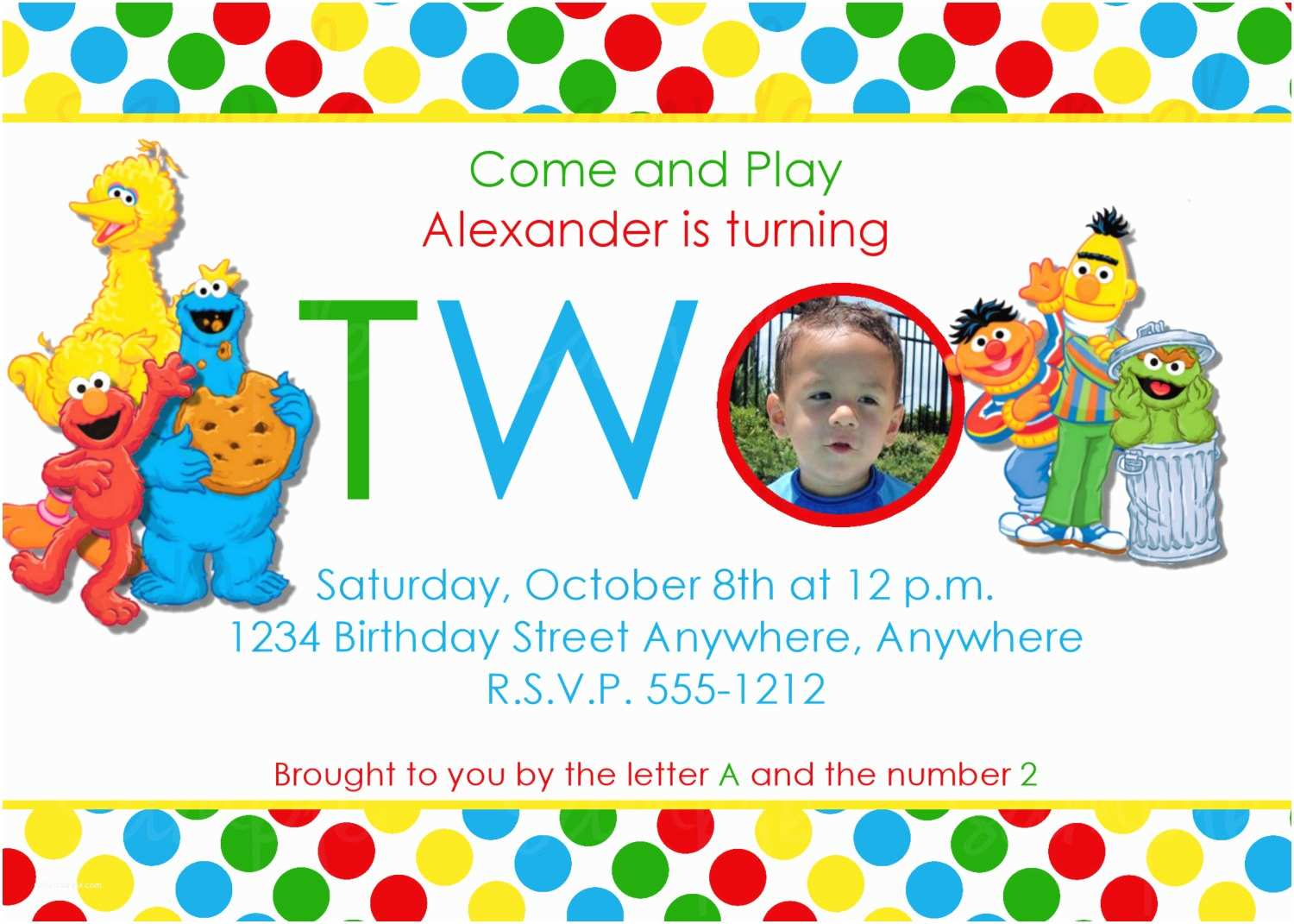Sesame Street Party Invitations 2 Year Old Birthday