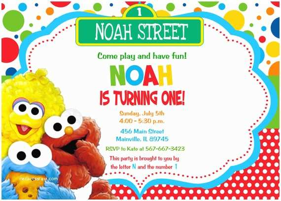 Sesame Street Party Invitations Baby Elmo First Birthday Invitation Digital