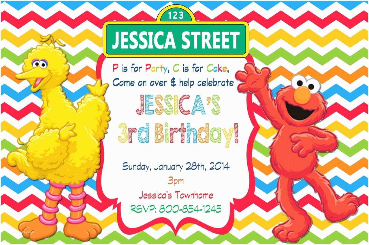 Sesame Street Party Invitations Elmo Sesame Street Birthday Party Invitations