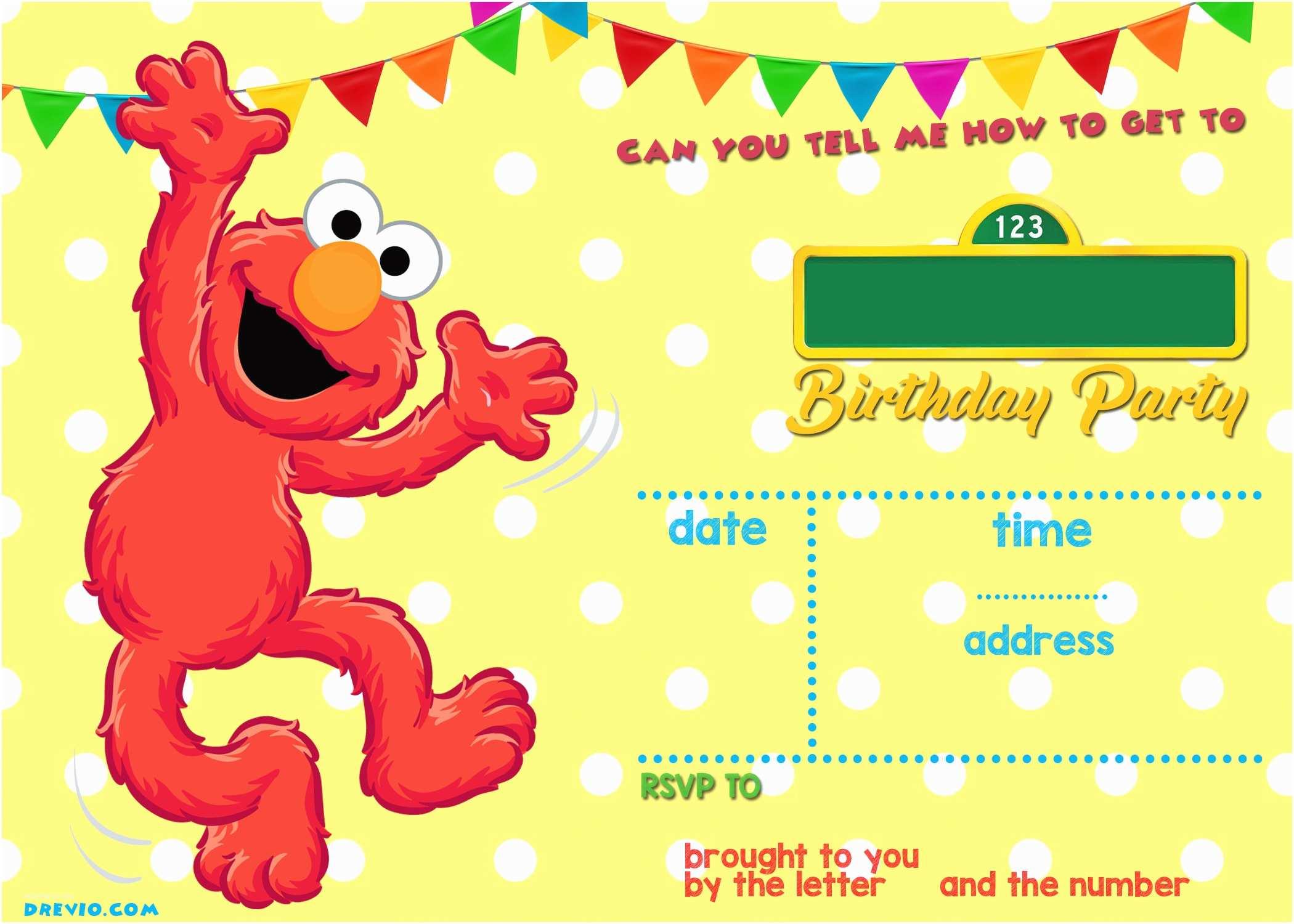 Sesame Street Party Invitations Free Printable Elmo Birthday