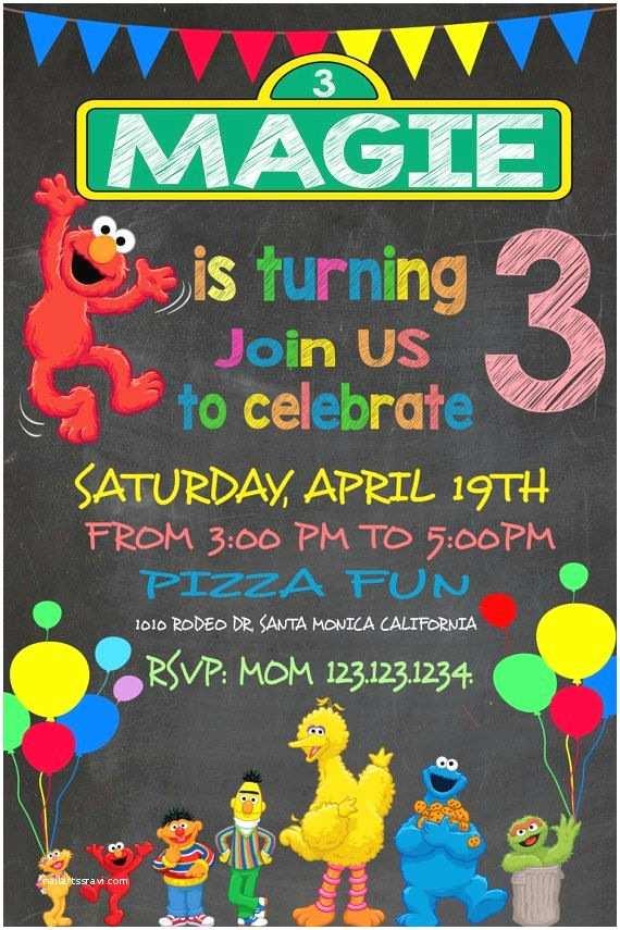 Sesame Street Party Invitations Fun Sesame Street Invitation Elmo Invitation