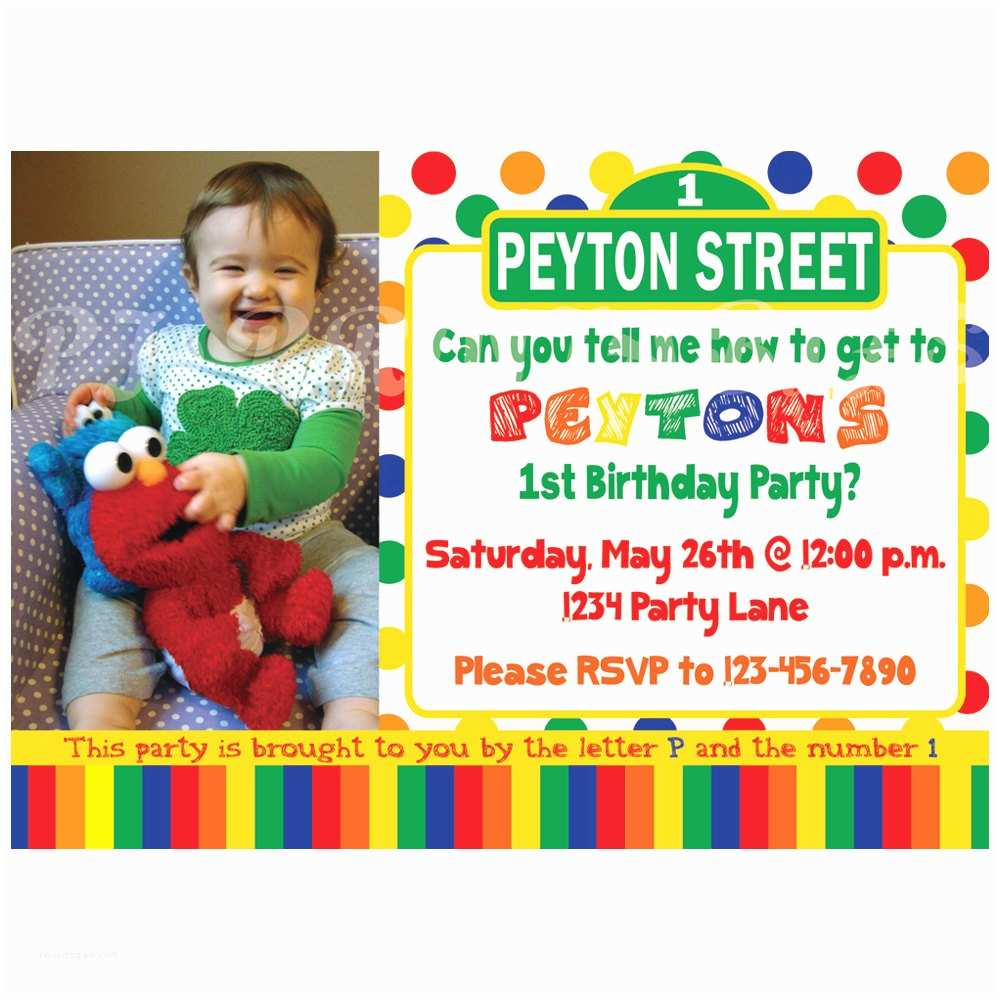 Sesame Street Party Invitations Sesame Street Birthday Invitation Primary Colors