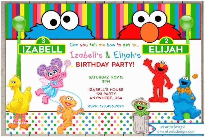 Our Best Gallery Of 50 Sesame Street Party Invitations
