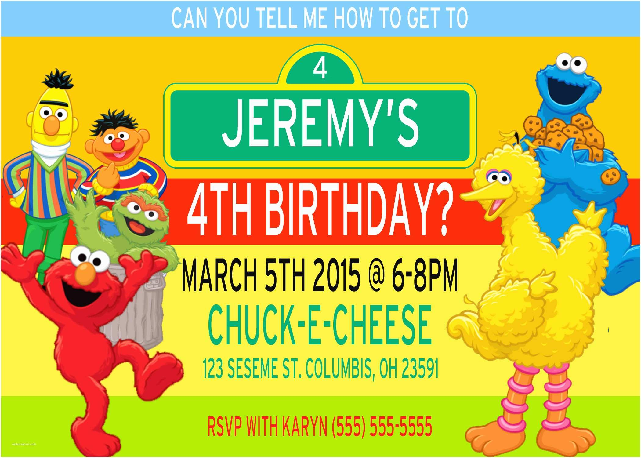 Sesame Street Party Invitations Sesame Street Birthday Invitations