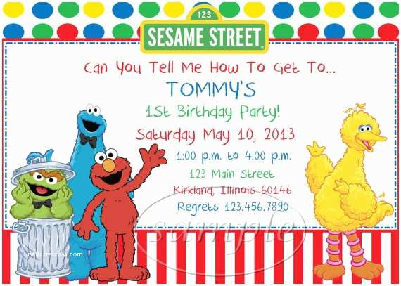 Sesame Street Party Invitations Birthday By Kid Creations1