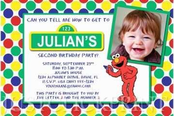 Sesame Street Party Invitations Elmo Birthday
