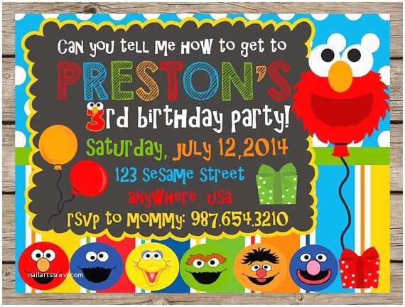 Sesame Street Party Invitations Invitation Elmo By Punchberrystudio