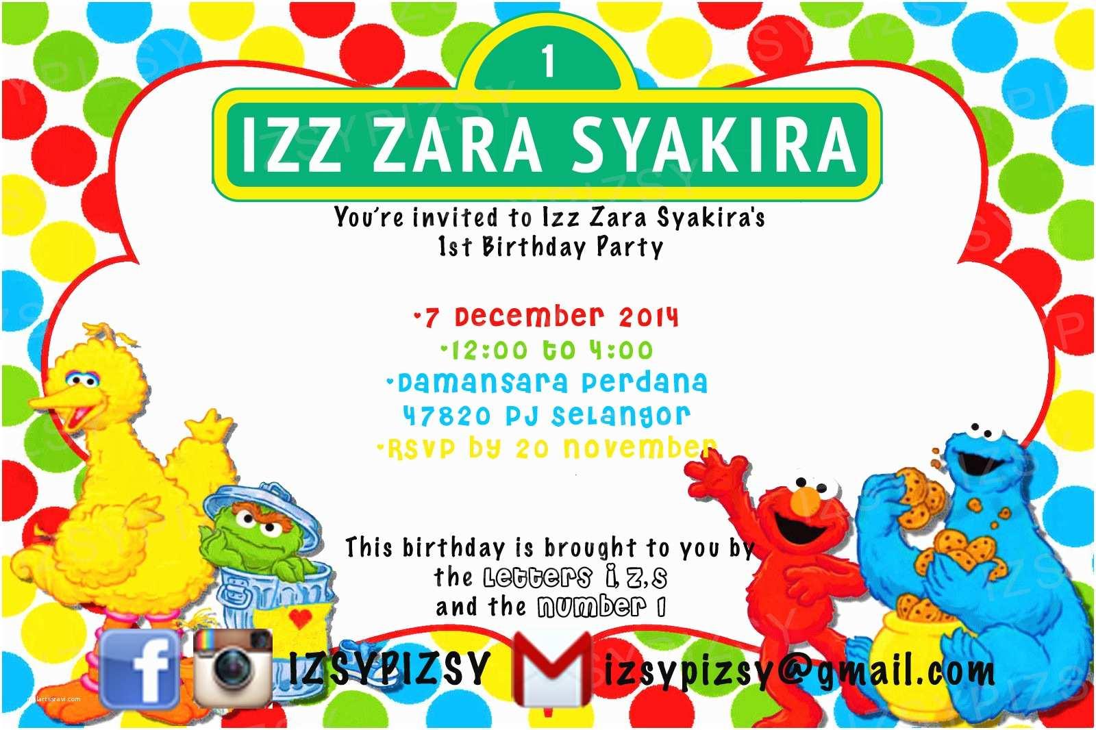 Sesame Street Party Invitations Sesame Street Invitations