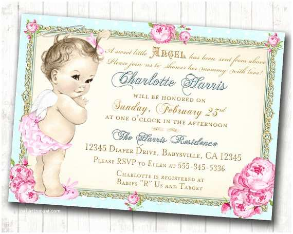 Shabby Chic Baby Shower Invitations Baby Shower Invitation Angel Shabby Chic Roses Angel