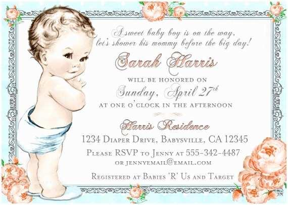 Shabby Chic Baby Shower Invitations Boy Baby Shower Invitation for Boy Shabby Chic Baby Shower