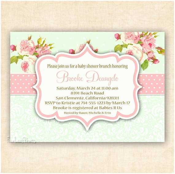 Shabby Chic Baby Shower Invitations Items Similar to Green and Pink Shabby Chic Floral and