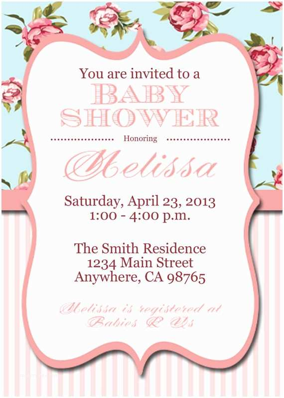 Shabby Chic Baby Shower Invitations Items Similar to Printable Shabby Chic Baby Shower Invite