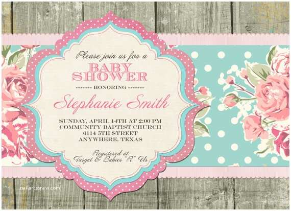 Shabby Chic Baby Shower Invitations Items Similar to Shabby Chic Baby Shower Invitation On Etsy