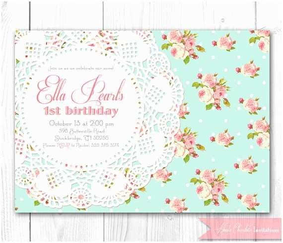 Shabby Chic Baby Shower Invitations Items Similar to Shabby Chic Invitation Vintage Pearls