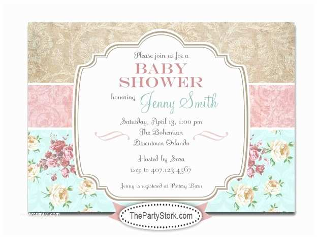 Shabby Chic Baby Shower Invitations Printable Shabby Chic Baby Shower Invitation
