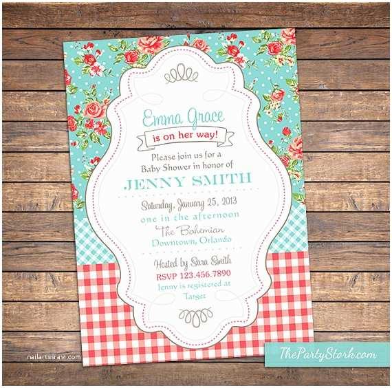Shabby Chic Baby Shower Invitations Shabby Chic Baby Shower Invitation Floral Digital