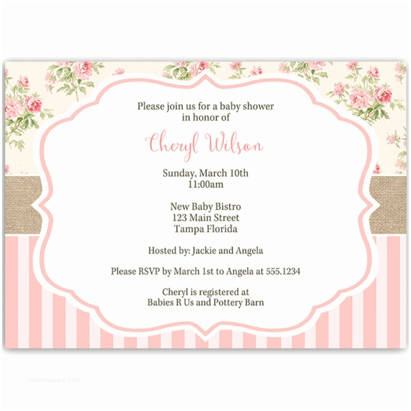 Shabby Chic Baby Shower Invitations Shabby Chic Baby Shower Invitation – the Invite Lady