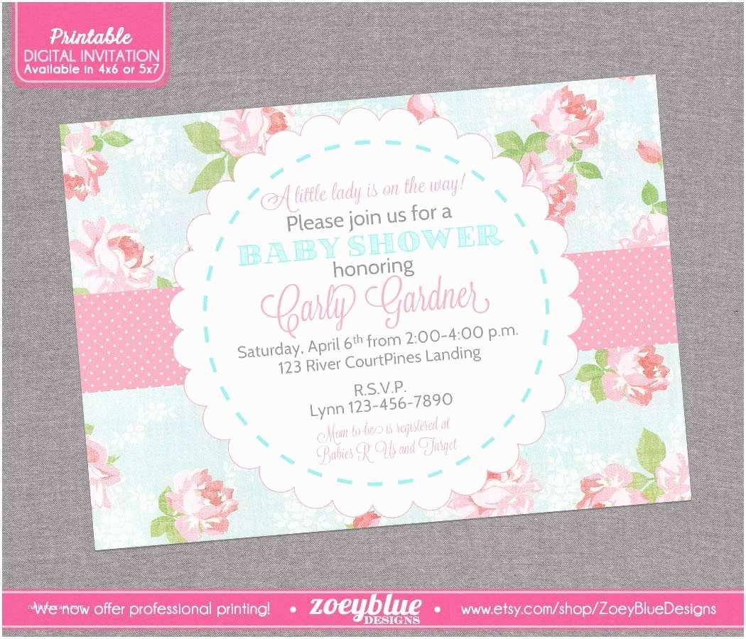 Shabby Chic Baby Shower Invitations Shabby Chic Baby Shower Invitation Vintage by Zoeybluedesigns