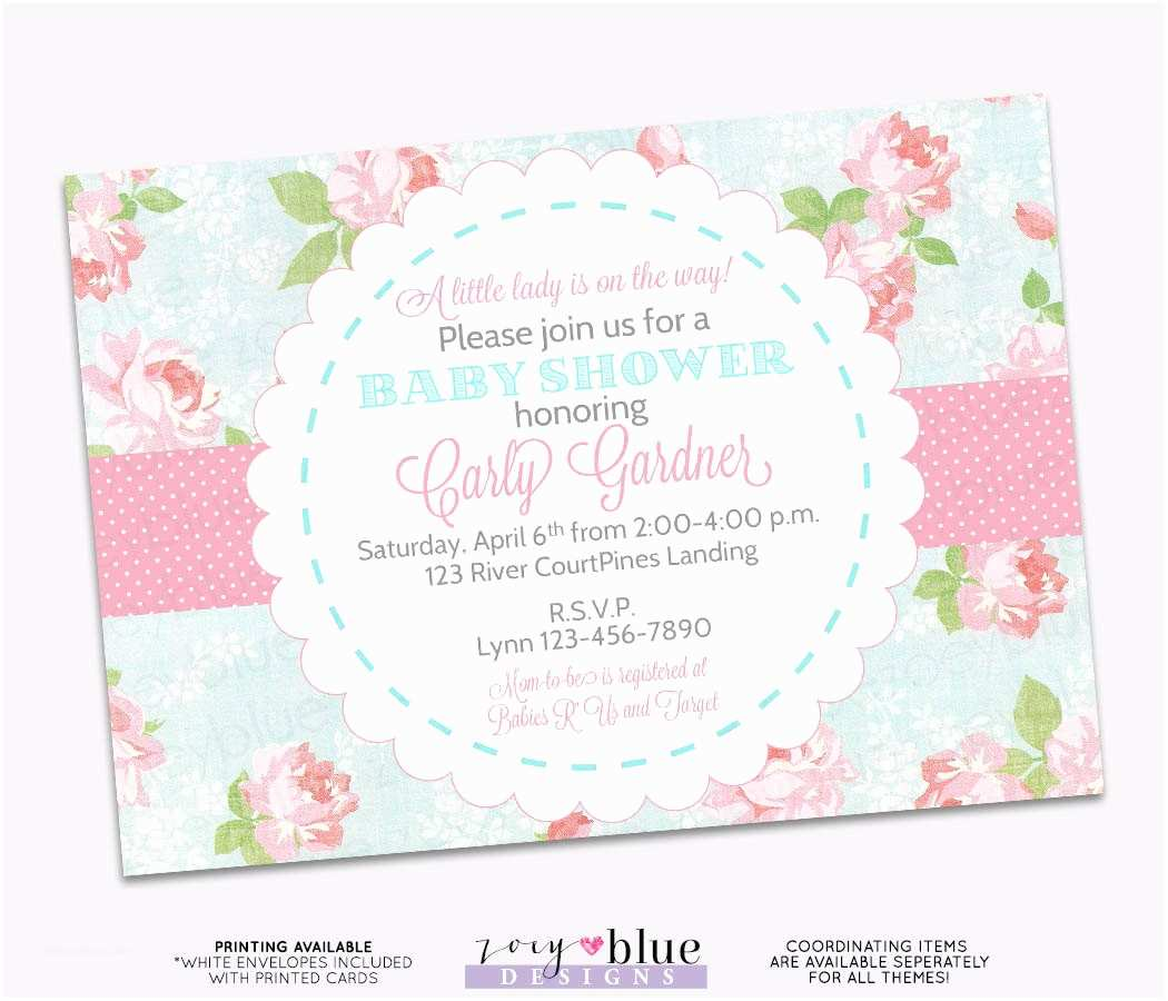 Shabby Chic Baby Shower Invitations Shabby Chic Baby Shower Invitation Vintage Floral Pink Blue