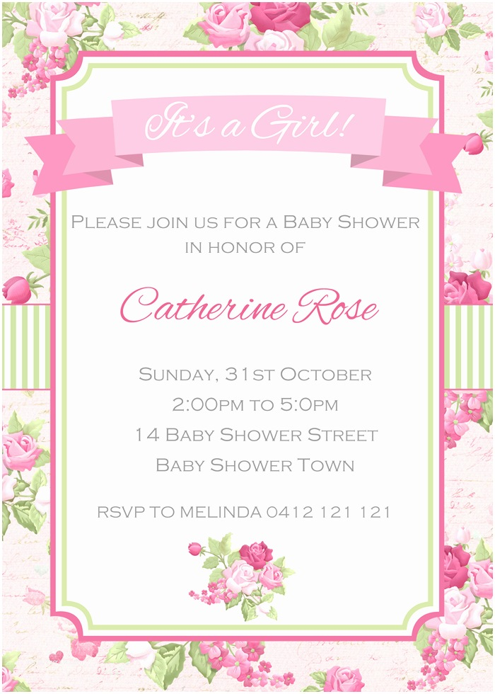 Shabby Chic Baby Shower Invitations Shabby Chic Baby Shower Invitations Party Xyz