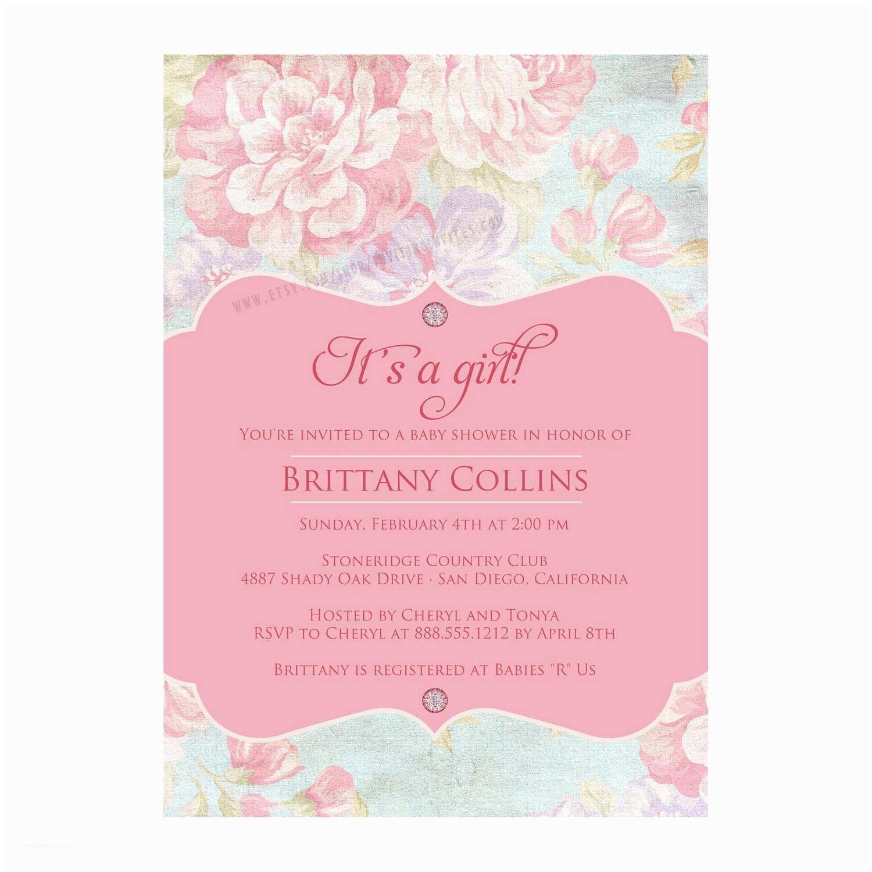 Shabby Chic Baby Shower Invitations Shabby Chic Vintage Bridal Baby Shower Invitation Printable